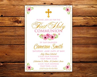 First Communion Invitation. Girl First Communion Invitation. Communion invitations. Communion invites. Communion Party. Floral. Gold. Pink.