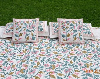 Mother's Day Gift Floral bedding/flat sheet/Queen size with matching pillow cases