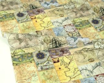 World map fabric etsy vintage world map patterned fabric sewing quilt made in korea by half yard gumiabroncs Image collections