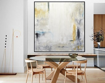 Large Oil Painting Original Modern Abstract Art White Amber Yellow Blue Contemporary Interior