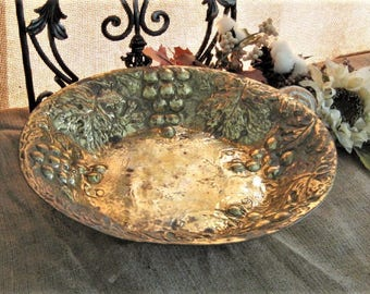 Large Repousse Brass Bowl  BRASS Fruit Bowl with Grape Design Patina VINTAGE Centerpiece Brass Bowl