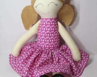 Handmade Fabric Doll - Emily – Purple  / Pink and White Dress, Brown Felt Hair, Black Felt Shoes and a White Bow