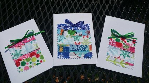 Set of 3 Handmade Present Christmas Cards/Fabric Scrap Christmas Cards/Handmade Holiday Cards/Handmade Greeting Cards/Blank Christmas Card