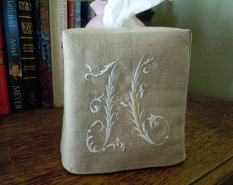 "Tissue Box Cover -  Made To Order - Monogrammed Essex Natural Linen Tissue Cover Special French Lettering ""H"""