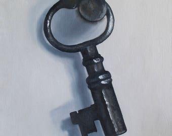 Original Oil Painting, Small Key, Still Life