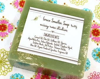 green smoothie soap, spirulina soap, melt and pour soap, sls free soap, bath and body, housewarming gift, home decor, natural soap