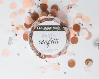 Confettis Party - Prosecco - rose pâle, pêche, blanc, Or Rose, argent confettis - décorations de fête Chic