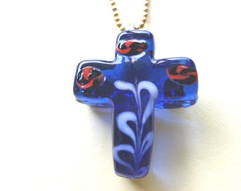 1980s BLUE Glass Cross, Red & Gold and White Glass Cross, One of a Kind Cross Pendant and Neck Chain, Cross Pendant Necklace, Handmade Cross