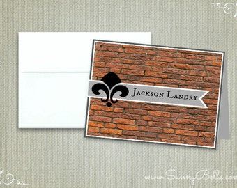 Personalized brick and fleur de lis thank you notes, notecards, men's notecards, masculine notecards, stationery, letterhead