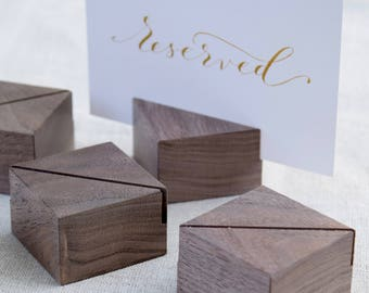 Diagonally Cut Square Walnut Card Holders Set | Small sign stands | Menu card holders | Table number holders | Greeting Card Stand Set