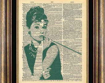 Audrey Hepburn Dictionary page art print book page art print up cycled