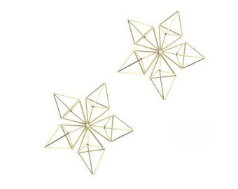 Geometric Himmeli Ornaments - set of 10 - Brass - Tetrahedrons - Event, Wedding or Home Decor - Ornaments or centerpiece