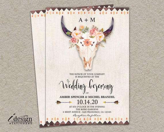 Boho Chic Wedding Invitations: Boho Wedding Invitation Printable Bohemian Style Watercolor