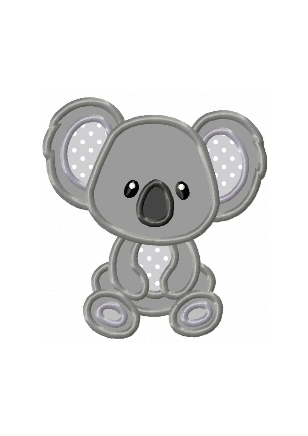 Koala Bear...Instant Download...Applique Machine Embroidery