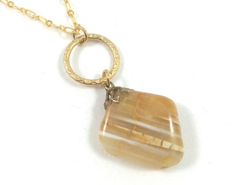 Yellow Stone Necklace, Yellow Agate Necklace, Agate Stone Necklace Natural Stone Necklace Boho Jewelry Earthy Jewelry Unique Necklaces Women