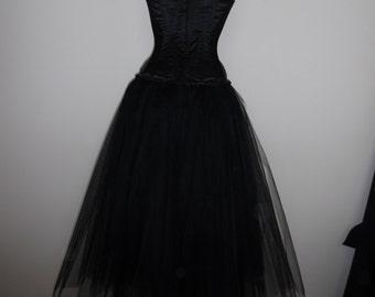 tutu skirt long black tulle full length adult goth wedding petticoat larp prom burlesque rockablly skirt  usa plus size  18 20 22 24