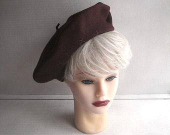 Brown Wool Beret Hat - Botsberet Made in Botswana - Medium to Large