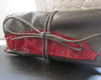 tobacco/tobacco pouch leather gray and raspberry