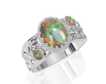 3-Stone Natural Australian Black Opal Ring in 925 Sterling Silver SKU: R2224-925