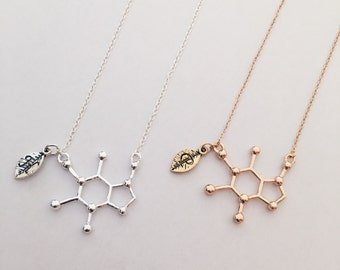 Personalized Caffeine Necklace Caffeine Molecule Necklace Happiness Necklace Chemistry Necklace Science jewelry Gift Free Bag High Quality