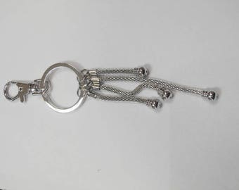1 key chain silver plated bead 14 cm