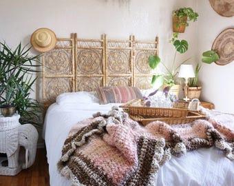 Beautiful Blush/Pink/Brown Crocheted Afghan Throw Blanket
