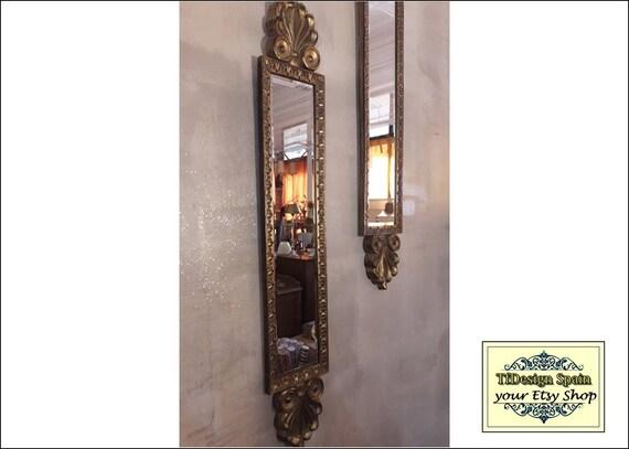 Espejo estrecho, Espejo culumnero, Espejo dorado, Espejo columna, Espejo alargado, Espejo alargado pared, Espejo alargado dorado 22x115 cm