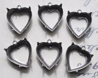 Twelve brass heart settings for crystals, 10mm with ring, Sterling Silver Finish, Heart Charms by Calliopes Attic