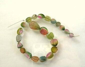 "Watermelon tourmaline slice beads AA+ 5.5-14mm 8"" strand"