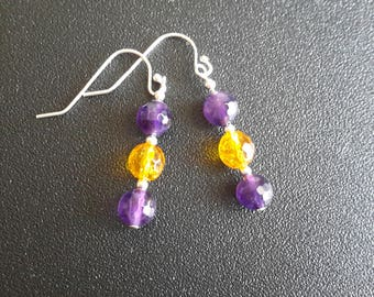 Sterling Silver Amethyst and Citrine Earrings