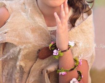 Woodland Fairy Bracelets  - Woodland Fairy cuffs - fairy Bracelet - woodland bracelet - fairy accessories - photo props -floral bracelet
