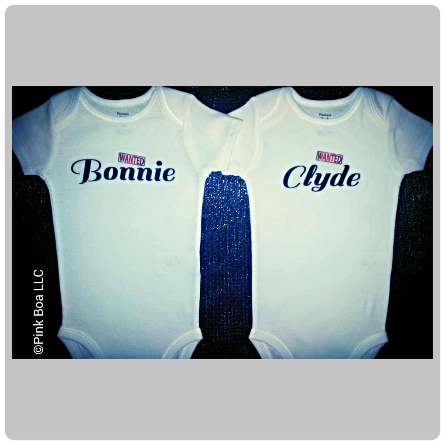 Bonnie Clyde Boy Girl Twin Outfits Twin Baby Gift Funny