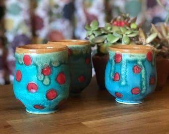 Cup Red Polka Dot Turquoise Yellow Shino Yunomi Tea Cup Wine cup