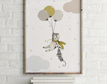 Flying away cat print, Nursery Wall Art, kids room decor, nursery animal print, baby shower boy, kids Wall Art, cat lover gift, cat wall art