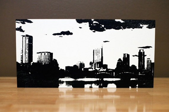 Austin Skyline Wood Wall Art 12 x 6 inches Black & White