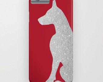 Chien Doberman en argent sur housse de portable - Samsung Galaxy S7, iPhone 6, iPhone 6 Plus, cadeaux pour les propriétaires de chiens, Doberman cadeaux