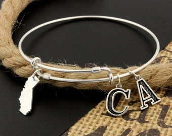 Expandable Bangle Bracelet STERLING SILVER California Personalized Initial Charm Adjustable Bangle bracelet Best friend gift (S-13)