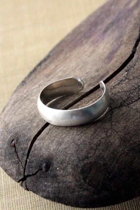 Sterling Silver Toe Ring- Brushed Textured Half Round