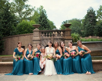 Gatsby Teal Green Satin Jersey- Octopus Convertible Infinity Wrap Long Dress. Bridesmaids, Maternity, Plus Size. 1920s Gatsby, FLapper style