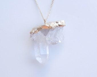 Quartz Drusy Necklace in Gold - OOAK Jewelry