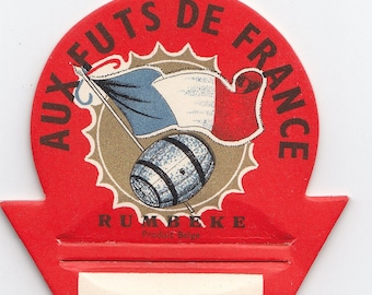 1920s Aux Futs De France Cardboard French Rum Rumbeke Bottle Topper