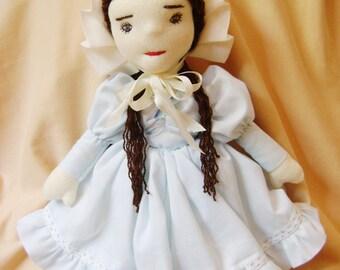 Nellie, a cloth doll, handmade, OOAK doll