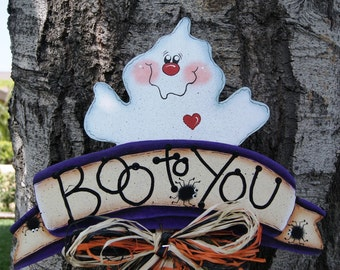 Ghost and Spiders Halloween Yard Stick - Halloween Wood Sign Decoration - Outdoor Yard Art