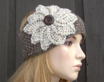 Knit Headband Head Wrap Ear Warmer Barley Tweed with Oatmeal Tweed Crochet Flower and Button Closure