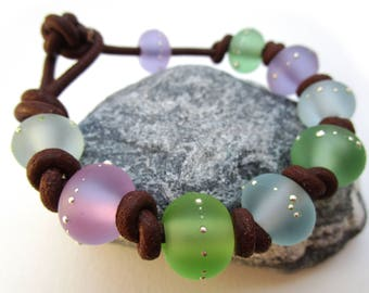 Lampwork silver dotted etched beads bracelet