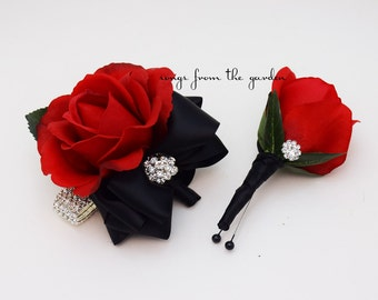 Corsage Black and Red with Rhinestones Real Touch Rose Wedding Boutonniere Wedding Corsage Mother of the Bride Father Flowers Prom Corsage