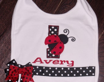 Birthday Ladybug Big, Personalized Ladybug Bib, Embroidered Ladybug Birthday Bib, Embroidered Ladybug Bib, Birthday Bug Bib