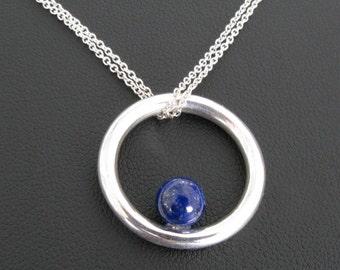 Handmade Lapis Necklace, Sterling Silver Circle with Lapis, Genuine Lapis Lazuli, Blue Lapis Jewelry, Silver Metalwork Circle Pendant,