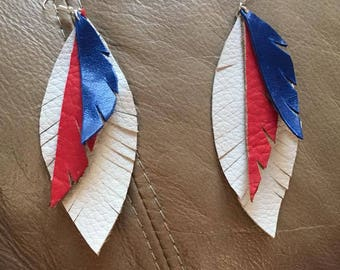 Red, White and Blue Leather Earrings