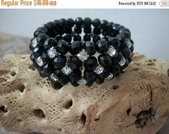 ON SALE Vintage Elegant Black Etched Clear Rhinestones Bracelet 1538
